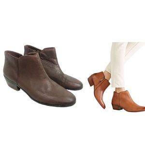 SAM EDELMAN Dark Brown Leather Petty Ankle Bootie
